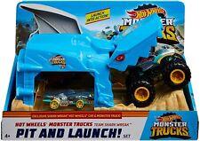 Hot Wheels Monster Trucks Pit Y Lanzar Set-equipo Tiburón causar * Nuevo *