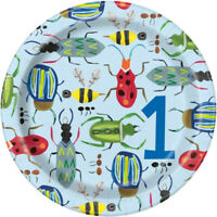 """8 x 7"""" Bug 1st Paper Plates Baby Boys Birthday Party Tableware Supplies Insects"""