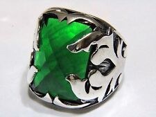 Knights Fire Ring Green Agate Gemstone 925 K Sterling Silver Mens Ring Gemstone