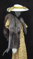 1930s 1940s Fur Stole Silver Fox Long Pelt Head Feet Old Hollywood  #1417
