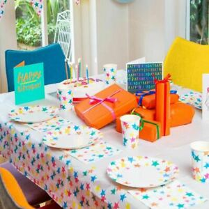 Star Paper Table Cover | Eco-friendly Kids Birthday Rainbow Tableware Cloth