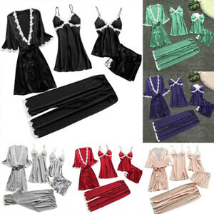 5Pcs Women Sexy Pajamas Set Silk Lace Lingerie Bathrobes Homewear Sleepwear Suit