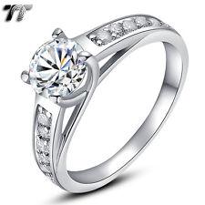 TT RHODIUM 925 Sterling Silver Engagement Wedding Ring (RW08) Size 6-10 NEW