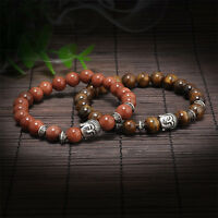 Handmade Men Women's Lava Rock Beads Buddha Head Bangle Bracelet Jewelry Gift