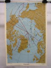 Schulwandkarte Nordpolargebiet Schulmann 4094 59x90c Vintage Rare Wall Map ~