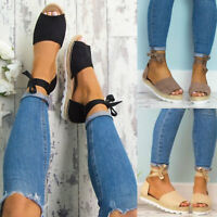 Women's Flat Lace Up Strappy Platform Espadrilles Sandals Summer Open Toe Shoes