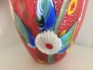 Large Multi Coloured Murano Millefiori Glass Vase Over 4.2kg