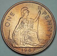 1967 GREAT BRITAIN 1 ONE PENNY UNC COLOR GEM BEAUTIFUL BU TONED CHOICE (DR)