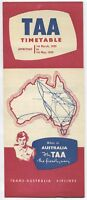 TAA TRANS AUSTRALIA AIRLINES TIMETABLE MARCH-MAY 1959 CV-240 DC-3 DC-4 VISCOUNT