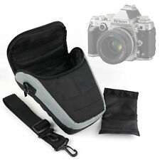 Black & Grey Nylon SLR Carry Case with Strap for Nikon DF - Perfect for Travel!