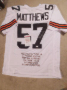 Clay Matthews signed white Browns STAT jersey, JSA, #57