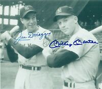 Mickey Mantle / Joe DiMaggio Autographed Signed 8x10 Photo HOF Yankees ) REPRINT