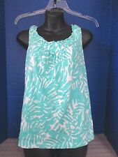JONES NEW YORK SPORT~Green & White SLEEVELESS SHIRT TOP~Women's Small