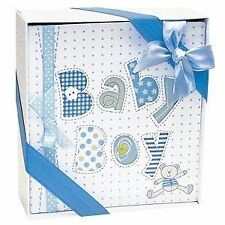 New White and Blue Baby Boy Photo Album 4x6 Photos Free Shipping