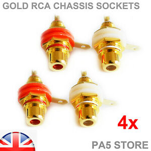 4x Gold RCA Phono Female Chassis Sockets - 2 Pairs - High Quality - Audio Amp UK