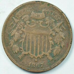 1867 2C Two Cent Piece Very Fine Details VF