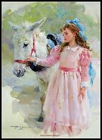 Chart Needlework 14 ct Aida - Counted Cross Stitch Patterns - Pink Dress Girl