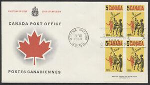 1968 #483 Lacrosse FDC, Plate Block, Canada Post Replacement Cachet, Ottawa