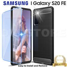 CUSTODIA per SAMSUNG Galaxy S20 FE tpu Cover CARBON FIBER Pellicola VETRO