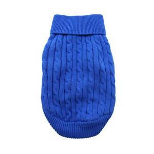 Doggie Design Riverside Blue Combed Cotton Cable Knit Dog Sweater XXS-3XL