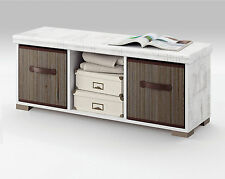 Mueble auxiliar de dormitorio color blanco con cestas bambu incluidas 102x40