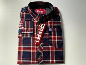 BOYS LOVELY DIESEL LONG SLEEVE NAVY RED CHECK SHIRT AGE 11 - 12 Y YRS YEARS NEW