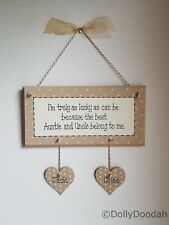 Personalised Soft Beige Auntie & Uncle Plaque Gift Present Birthday Hearts