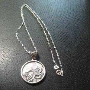 Royal Bali Mother of Pearl Hummingbird Pendant in Sterling Silver New