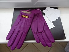 100% Authentic TED BAKER Grape Leather Gloves with Bow BNWT S/M