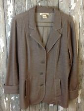 Women's L RUFF HEWN Jacket Stretch Blazer Casual Button Down Taupe Large EUC