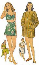 "Vintage 1940's Sewing Pattern Bathing Suit Sarong & Beach Coat WW2 B 30"" Rare"