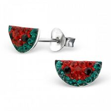 Sterling Silver 925 Crystal Watermelon Fruit Stud Earrings