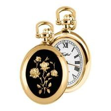 Ladies Woodford Oval Quartz Gold Plated Flower Design Pendant Necklace Watch
