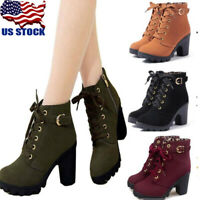 Womens High Heel Lace Up Buckle Ankle Boots Casual Zip Platform Shoes Size 3-8.5