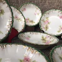 "8 Antique Limoges 6"" Bowls Pink Roses Gold Green Rim c.1890-1910 AK CD Red Stamp"
