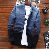 Men's Blend Knitting Slim Fit Coat Warm Jacket Baseball Collar Zip Cardigan
