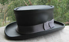 BLACK LEATHER HAND CRAFTED MEL GIBSON MAVERICK MOVIE STYLE MENS FORMAL HAT