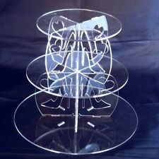 Three Tier High Heel & Heart Clear Pillars Round Cake Stand - White/Yellow/Clear