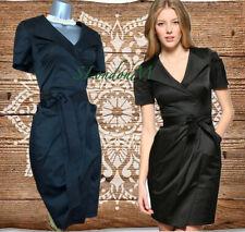 Size 10 UK KAREN MILLEN Black Safari Trench Style Shirt Dress Office Evening 38
