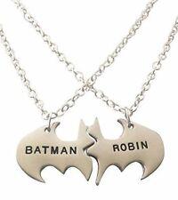 "Batman and Robin BFF 2 Piece Bat Shield Metal Necklace 18"" Chain BEST PRICE!!"