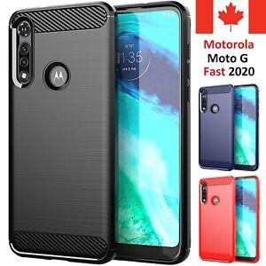 For Motorola Moto G Fast 2020 Case - Carbon Fiber Shockproof Soft Back Cover