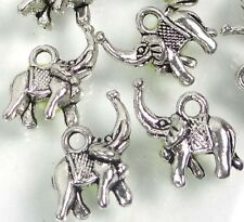 15 Antiqued Silver Pewter Elephant Beads 14x17mm