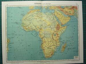 1921 MAP ~ AFRICA ~ PHYSICAL SOUDAN SAHARA MADAGASCAR ABYSSINIA