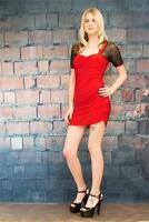 LUNA 10 Ruched Netting Sleeves Mini Dress