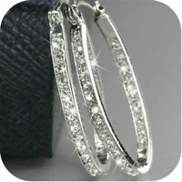 Fashion Women's Gold Plated Silver Crystal Big Hoop Huggie Earrings Wedding Gift