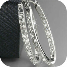 Fashion Women's Gold Plated Silver Crystal Big Hoop Huggie Earrings Wedding Gift