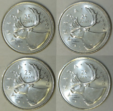 1993 - 1994 -1995 and 1996 Canada 25 Cents BU