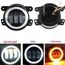 2PCS DOT 4Inch Round Led Fog Lights 30W White Halo Ring DRL For Jeep Wrangler JK