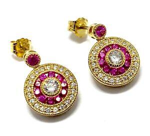 .925 Sterling Silver Ruby & Diamonique Diamond Round Cut Drop Earrings