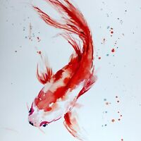 KOI CARP GOLDFISH SIGNED A4 NUMBERED PRINT OF WATERCOLOUR FISH BY DIANE ANTONE